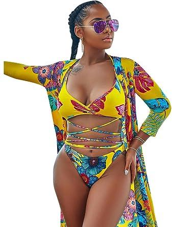 7a1e1b26f5eb2 Amazon.com: Women Sexy Print 3 Piece Swimsuit Bikini Set Swimwear Beachwear  Floral Bohemia Cover Ups XL Yellow: Clothing