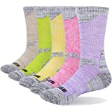 YUEDGE 5 Pairs Women's Cushion Cotton Crew Sports Athletic Hiking Socks