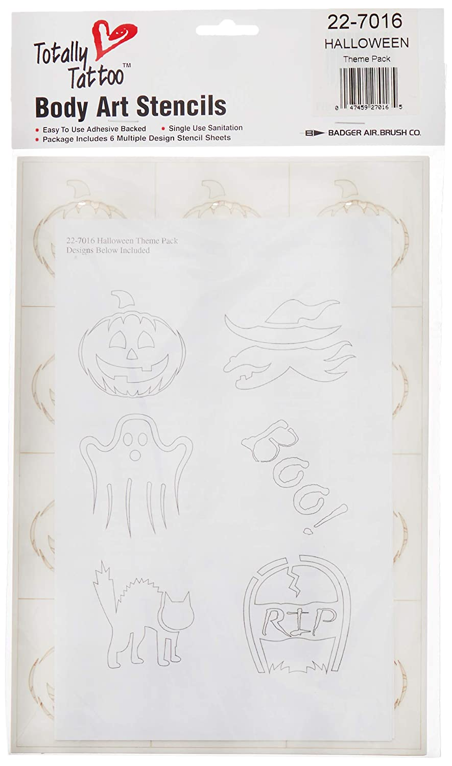 Badger 22 7016 Totally Tattoo Body Art Stencils Halloween Theme Pack Amazon In Home Kitchen