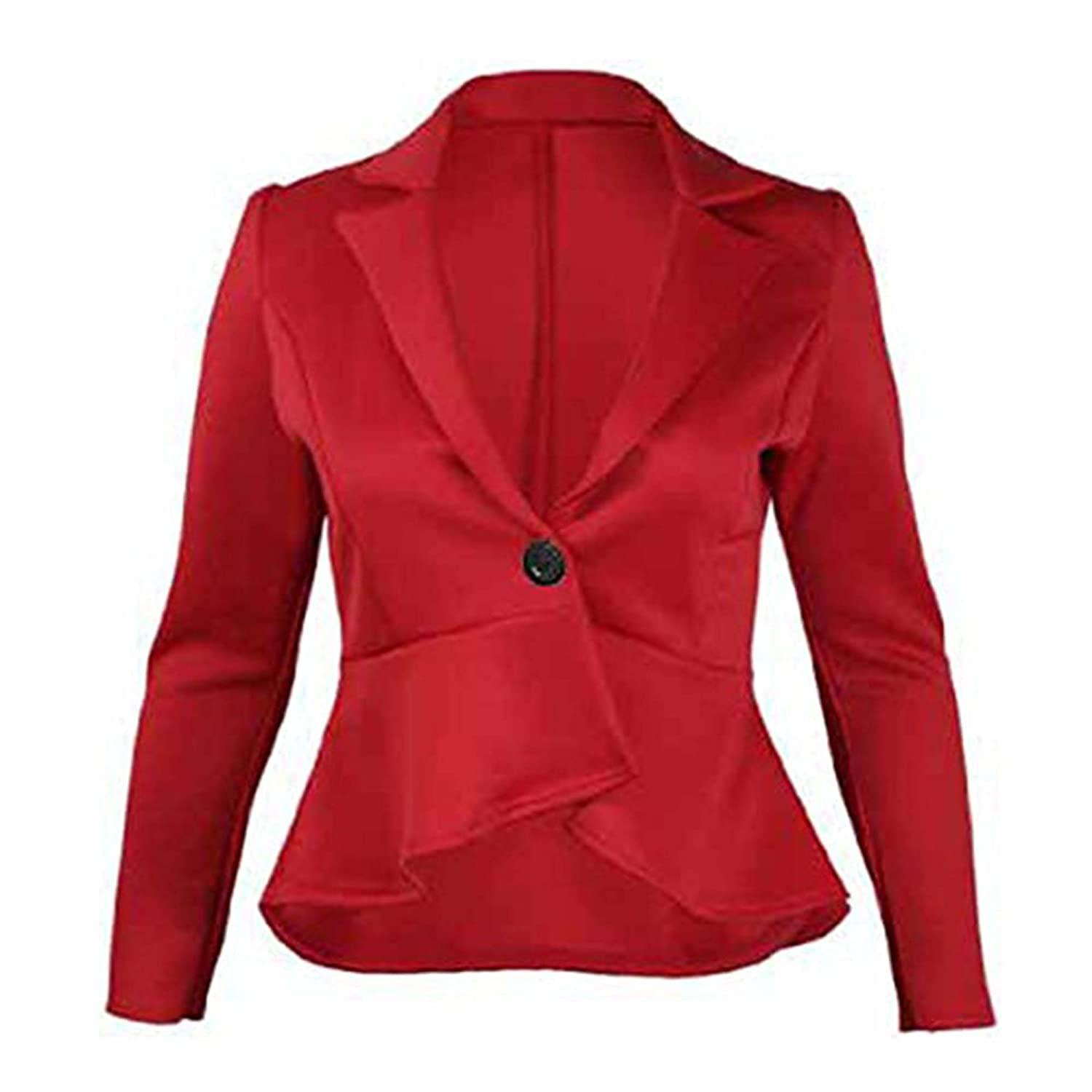 51B New Womens Fitted Dip Hem Peplum Style Ladies Button Blazer Jacket My1stwish
