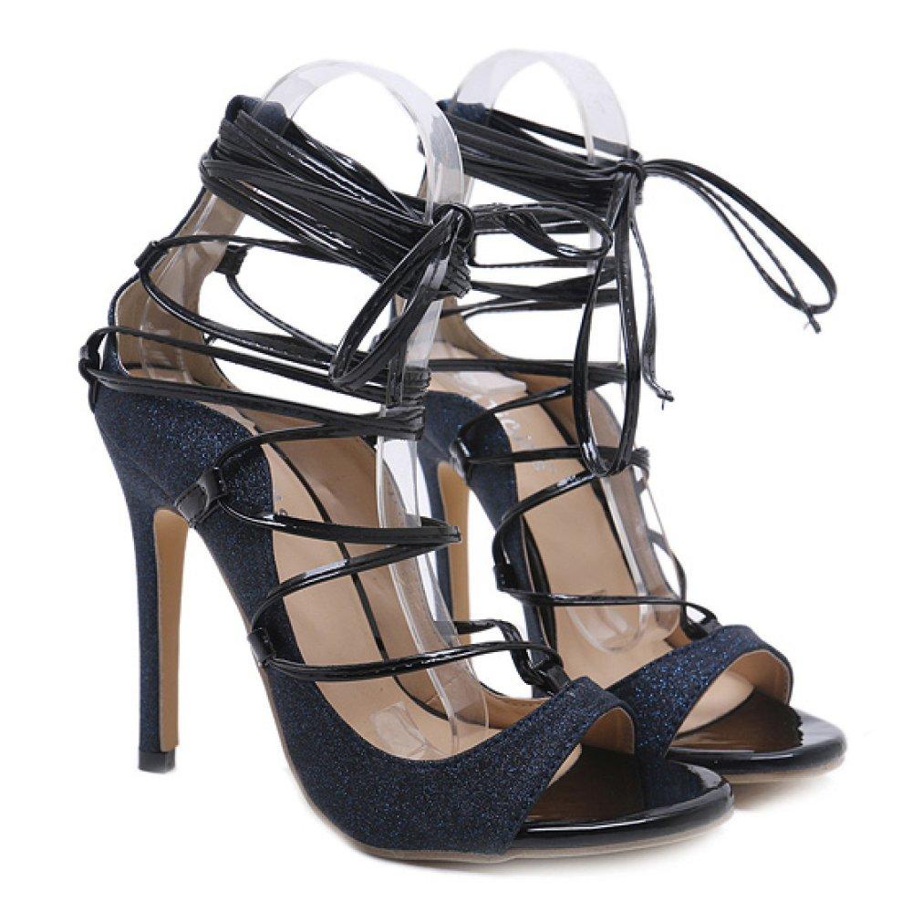 ZPFME Damen High Heels Sexy Lace Up Sandalen Stiletto Abend Prom Pumps Damen Peep Toe Party Schuhe