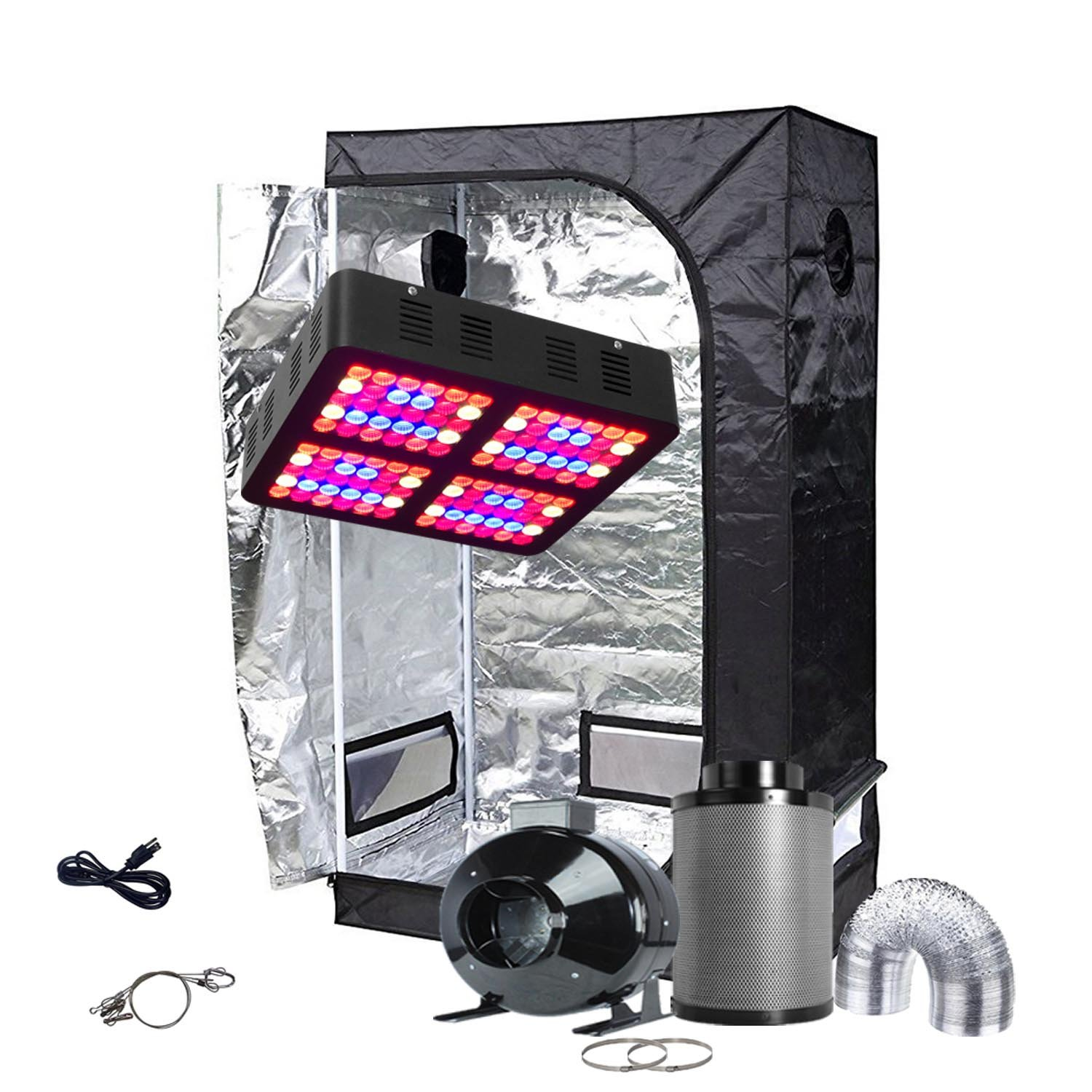 Oppolite LED Grow Tent Kit Complete Package LED 600W Grow Light Kit +4'' Fan Filter Ventilation Kit +36''X20''X63'' Grow Tent Setup Hydroponics Indoor Plants Growing System (LED600W+36''X20''X63''+4'')