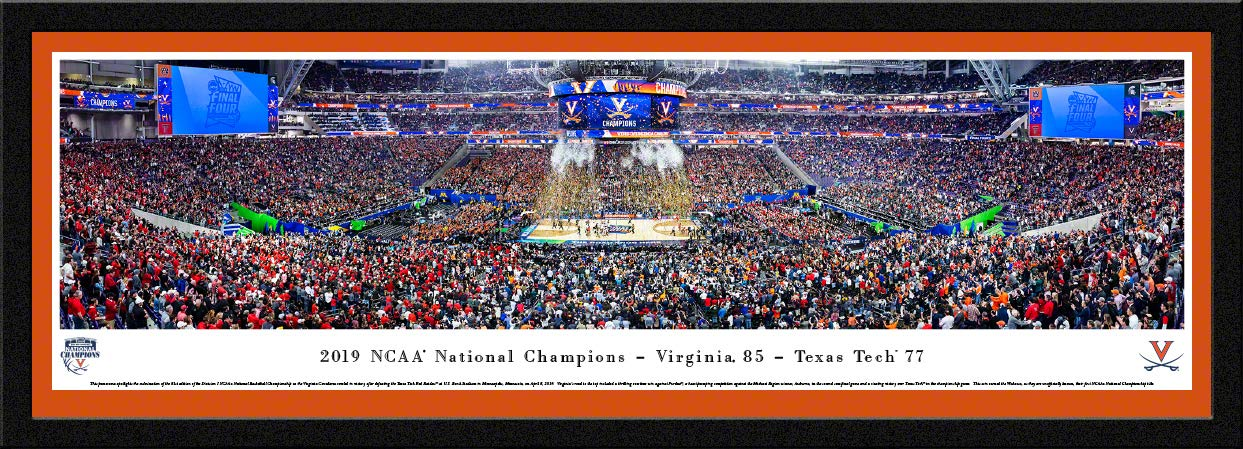 Virginia Cavaliers, 2019 NCAA Basketball Champions - Single Mat, Select Framed Print by Blakeway Panoramas