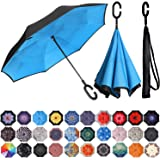 BAGAIL Double Layer Inverted Umbrella Reverse Folding Umbrellas Windproof UV Protection Big Straight Umbrella for Car Rain Outdoor with C-Shaped Handle