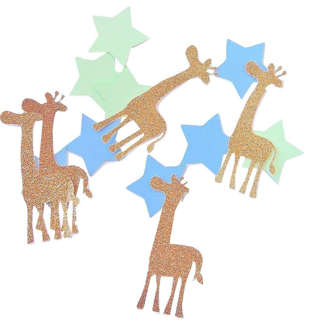 Konfetti Giraffe Gold - Grün Blau Stern - Dekoration (handgemacht Konfetti)