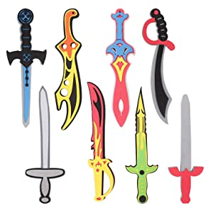 Liberty Imports Foam Swords 8 Pack Weapons Toy Set for Kids + 8 Unique Ninja Pirate Warrior Viking Swords