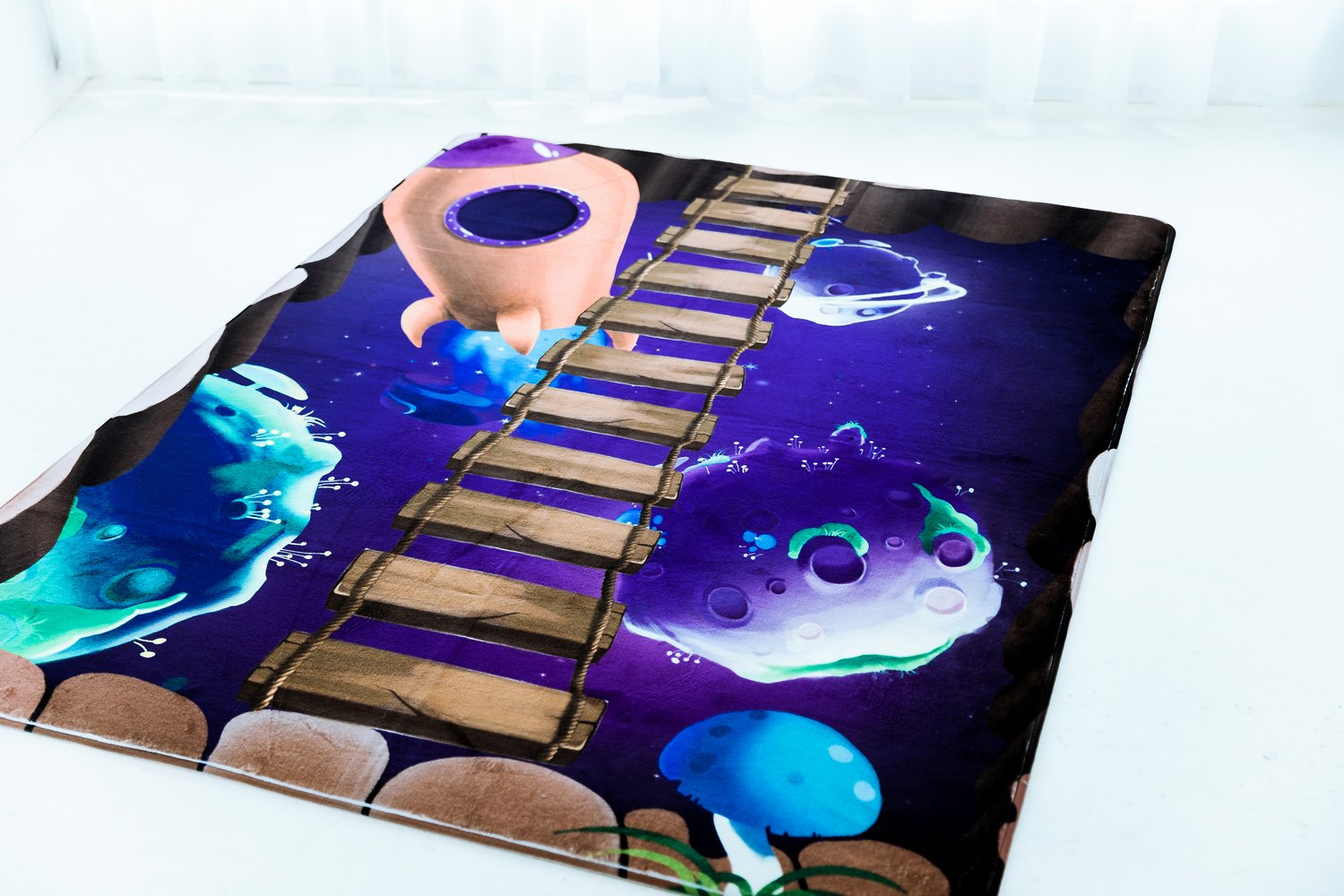 Cloudyfocus Baby Crawling Mat - 6.5' x 5', 3D Nursery Decor Rug for Kids Play, Non Slip Shaggy Area Rug Soft Baby Gym Carpet Sleep Blanket Baby Shower Gift (Adventure in Space) by CloudyFocus
