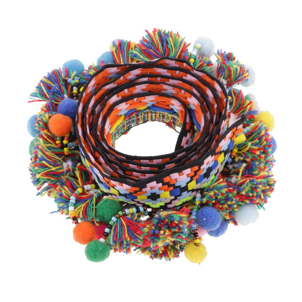 Sharplace 1 Pomodoro Colorato Pom Pom Fringe Nastro Tassels Braid Jacquard Ribbon Trim - 60 mm