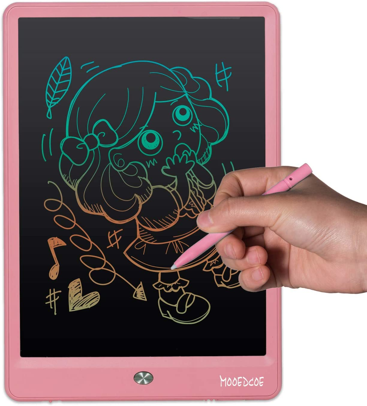 LCD Writing Tablet, Mooedcoe 10 inches LCD Drawing Tablet for Kids with Lockable Erase Button Digital Handwriting Pad Best Gift for Kids Using at Home, School (Pink)