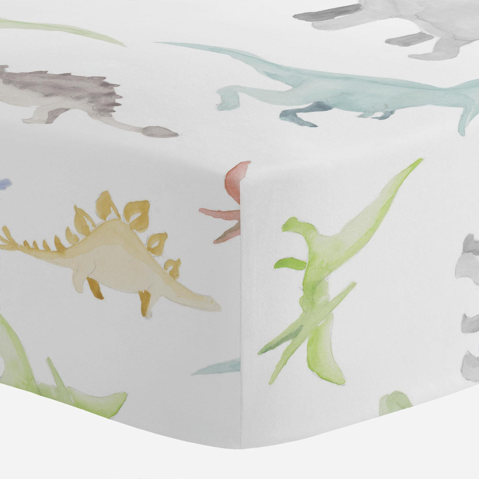 Carousel Designs Watercolor Dinosaurs Crib Sheet - Organic 100% Cotton Fitted Crib Sheet - Made in The USA by Carousel Designs