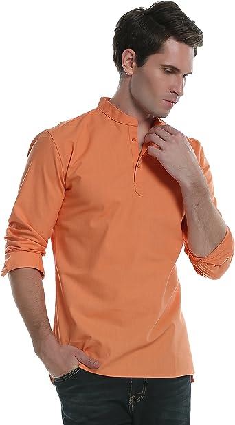 Coofandy Camisa de Vestir de Lino Hombre Cuello Mao Manga Larga Casual Naranja M: Amazon.es: Ropa y accesorios