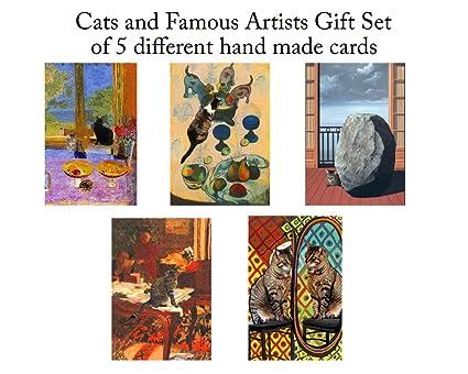 Set de 5 tarjetas de felicitación de gato, varios colores en blanco tarjetas, diseño