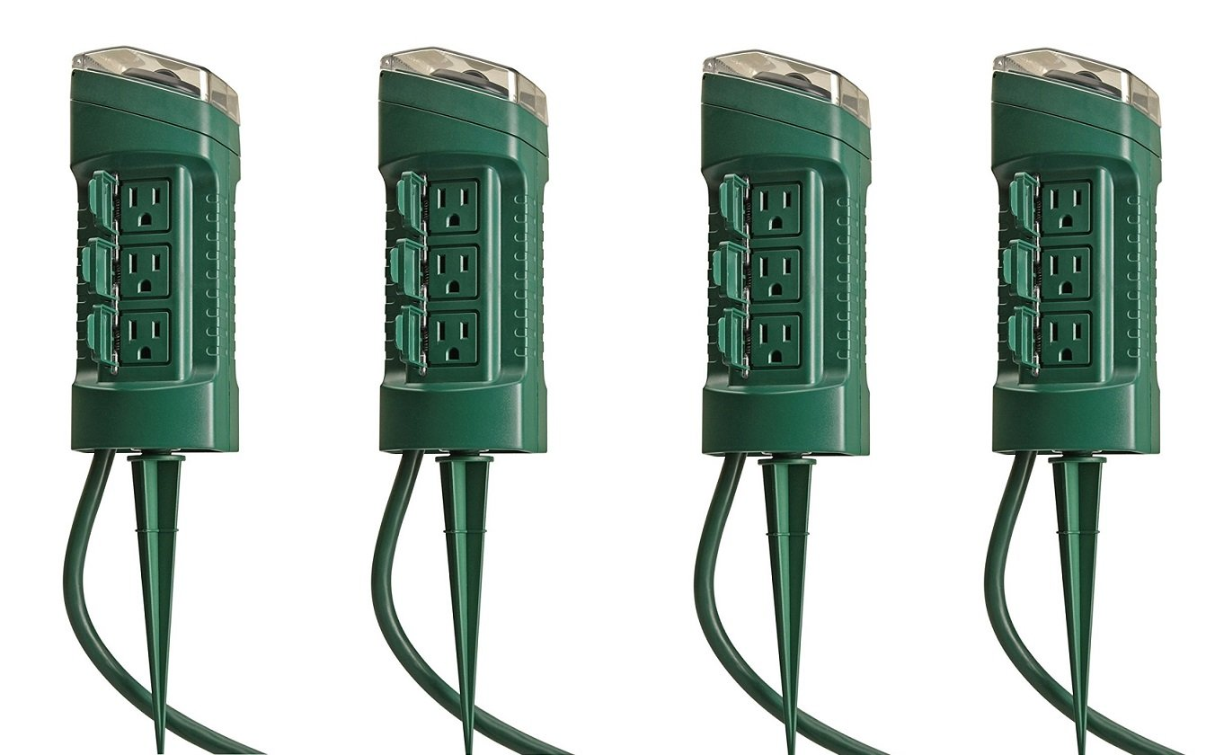Woods 13547WD Outdoor Yard Stake with Photocell and Built-In Timer, 6 Grounded Outlets, 6ft Cord, Green (4' PACK)