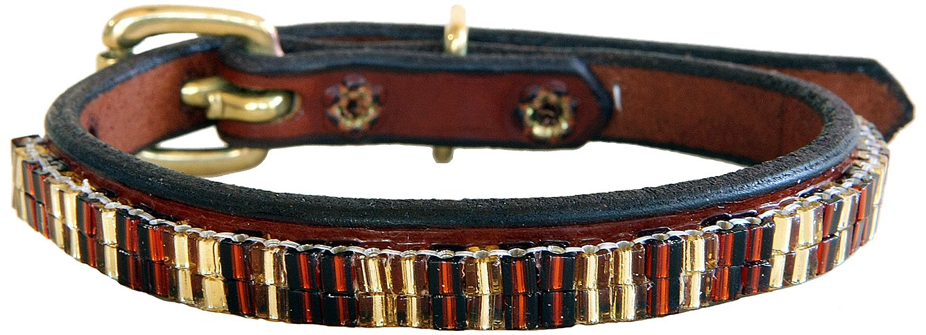 Just Fur Fun Dog Collar, Autumn Sun, 16-Inch, Brown Leather