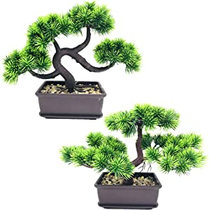 Fycooler Artificial Plants Artificial Bonsai Pine Trees,Artificial Plants Greenery Japanese Pine Desktop Display Simulation,Office,Living Room,Zen Garden Decoration Indoor Home Décor(2 Pack Potted)