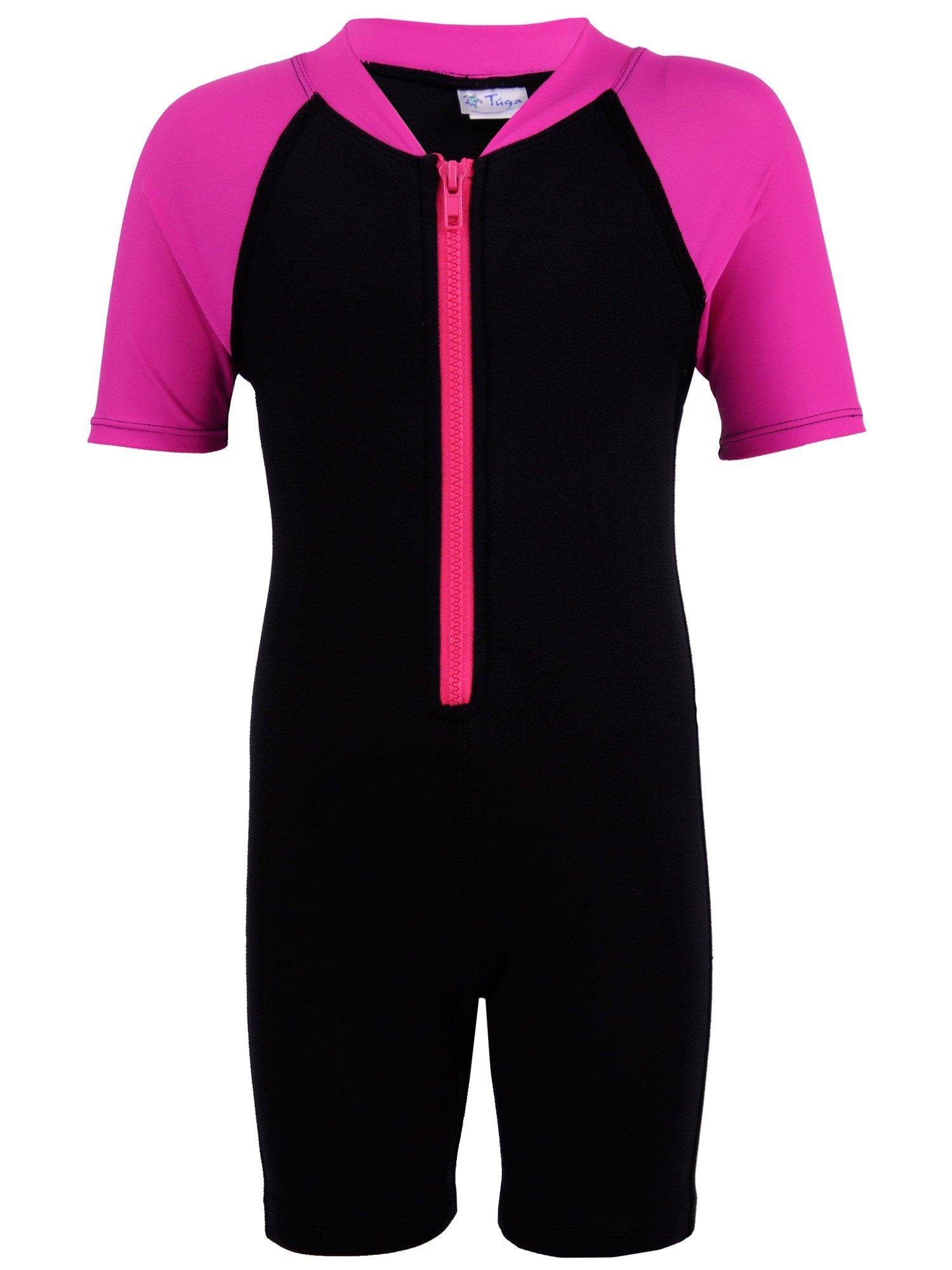 Tuga Girls Shorty 1.5mm Neoprene/Spandex Wetsuit (UPF 50+), Fuchsia, 2 yrs