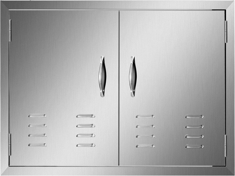 Mophorn 30W x 21H Inch Double Door with Vents BBQ Access Door Stainless Steel Outdoor Kitchen Doors for BBQ Island