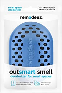 remodeez Small Deodorizer Eliminator, Odor Absorber for Closets, Cabinets, Cars, Suitcases, Coolers, Litter Boxes and Storage Spaces-Natural Coconut Activated Charcoal, Blue