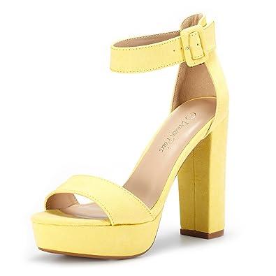 544f4ca95 DREAM PAIRS Women's Hi-Lo Yellow High Heel Platform Pump Sandals Size 5 ...