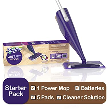 Swiffer WetJet Wood Floor Mopping and Cleaning Starter Kit, All Purpose Floor Cleaning Products, Includes: 1 Mop, 5 Pads, 1 Cleaning Solution, Batteries
