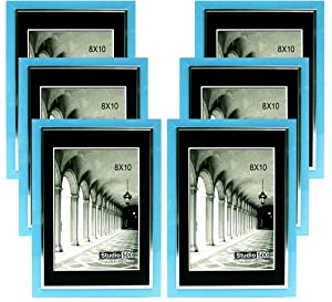 Studio 500, 8 by 10-inch from our Modern Collection, Colorful Sleek Blue with a Silver Accent Frames (EPF1313), 6-Pack