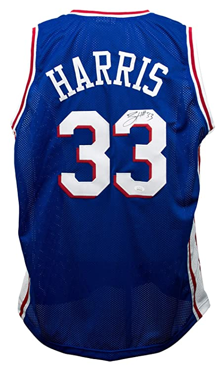 best service 1ac2e 24be1 Tobias Harris Signed Custom Blue Pro-Style Basketball Jersey ...