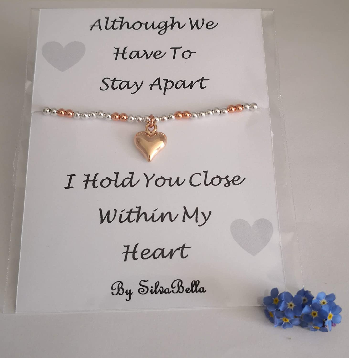 Social Distancing Silver Plated Elasticated Beaded Bracelet with Puff Heart Sending Love While We Are Apart Gift Silver and Rose Gold