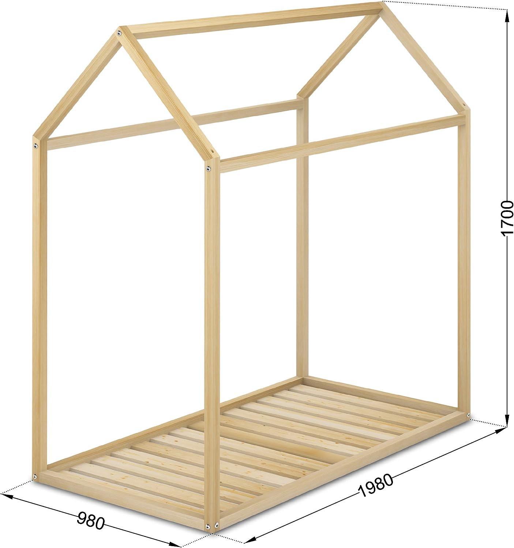 Cama Infantil Tipo Montessori, Casita Madera Natural para niño y niña, 90 x 190 cm: Amazon.es: Hogar