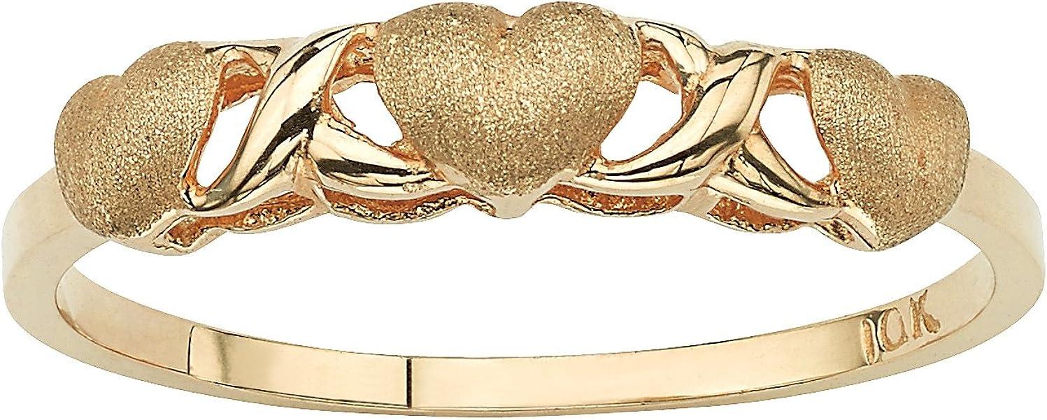 10K Yellow Gold Hearts and Kisses Ring