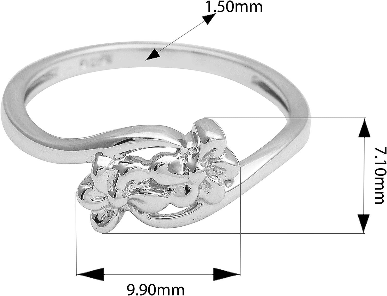 Solid 925 Sterling Silver Flower Design Ocean Wave Surf Oxidized Ring For Women//Girls
