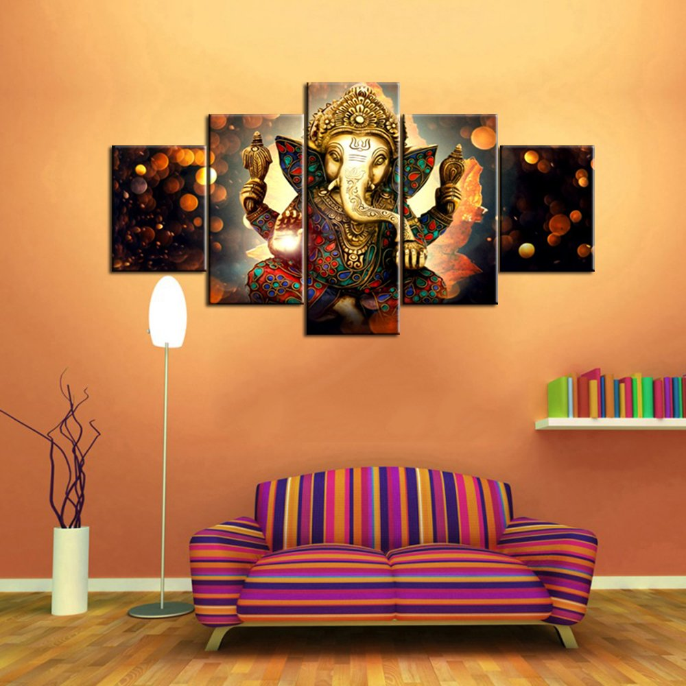 Wall art for living room deity festival artwork paintings 5 piece ganesha hindu god canvas pictures artwork home decor modern posters and prints framed