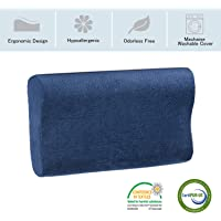 Hypoallergenic Odor Free Memory Foam Sleeping Pillow for Back, Stomach, Side Sleepers - Cervical Neck Support Contour Bed Pillow with Zipper Pillowcase
