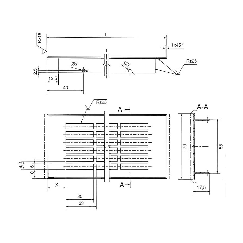 Aluminium EV1-900 mm SO-TECH/® Grille de Ventilation Perfor/ée T/ôle de Ventilation Ovale