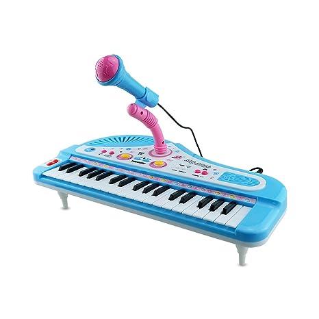 Toy Piano con micrófono, Vey 37 teclas teclado Kid órgano electrónico con Mike Rock musical