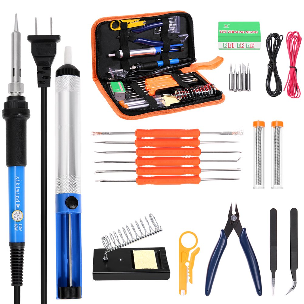 23-in-1 Soldering Iron Kit SIKIWIND 60W Adjustable Temperature Soldering Iron, 5pcs Soldering Iron Tips, Soldering Iron Stand, Solder Sucker, 2pcs Tin Wire Tube, Tweezers and Other Welding Tools