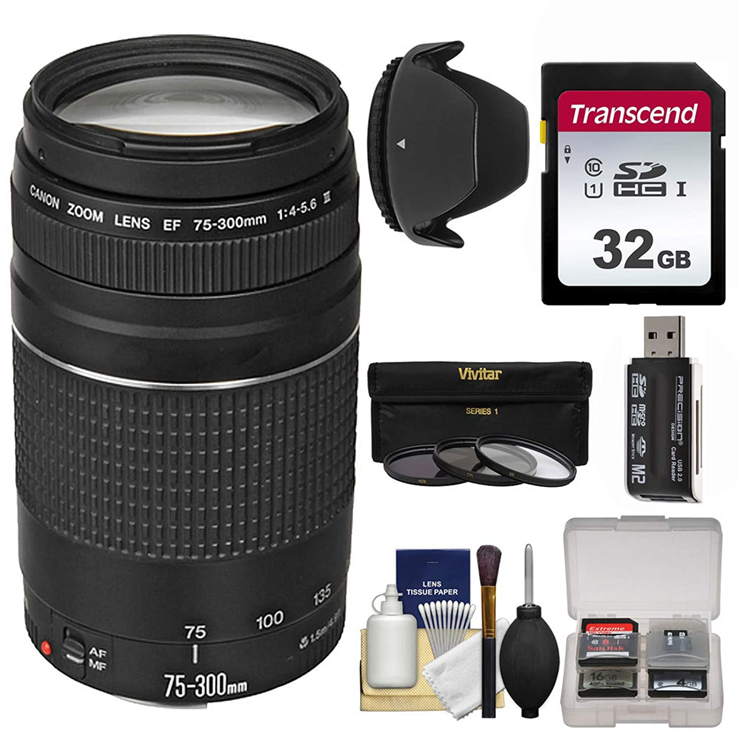 Kit for EOS 5D Mark II III 70D SL1 Cameras Rebel T3 6D 32GB SD Card 7D Hood T3i T5i T5 Canon EF 75-300mm f//4-5.6 III Zoom Lens with 3 Filters