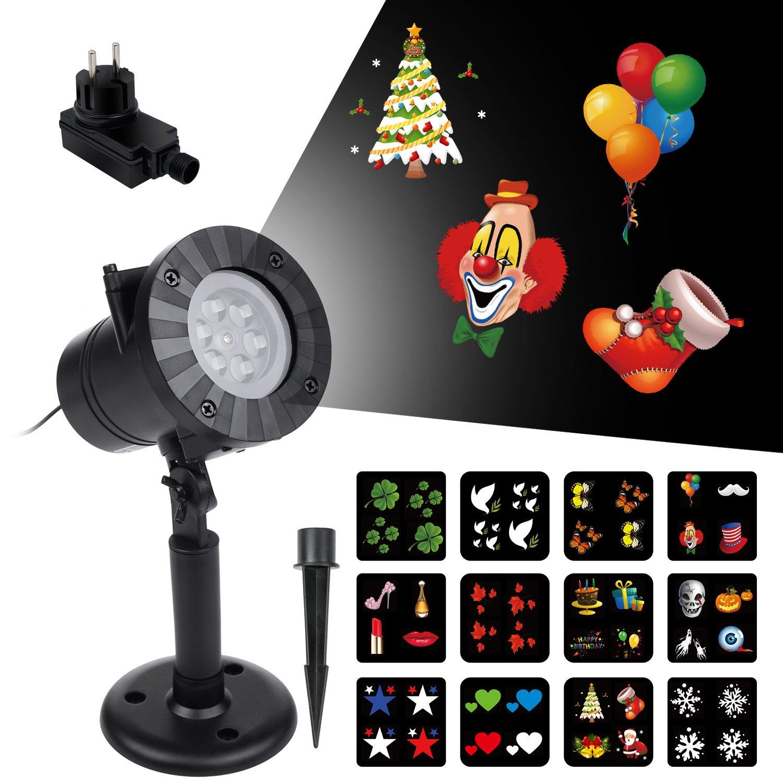 LED Projektor Vsllcau LED Projektionslampe Weihnachtsbeleuchtung IP44 Wasserdichte Weihnachtsdekoration Mit 12 Austauschbaren Mustern für Partys Weinachten