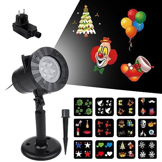 VSLLCAU Proyector Luces Navidad Exterior 12 Diapositivas Dinámicos Lámpara de Proyección LED Impermeable IP44 para Navidad Halloween Día de San ...