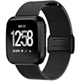 TERSELY Band Strap for Fitbit Versa 2/1 / Versa Lite, Luxury Metal Stainless Steel Adjustable Replace Replacement Bands Fitness Sport Strap for Fitbit Versa/Lite Wristbands