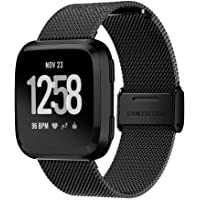 TERSELY Band Strap for Fitbit Versa/Versa Lite, Luxury Metal Stainless Steel Adjustable Replace Bands Fitness Sport Strap for Fitbit Versa/Lite Wristbands