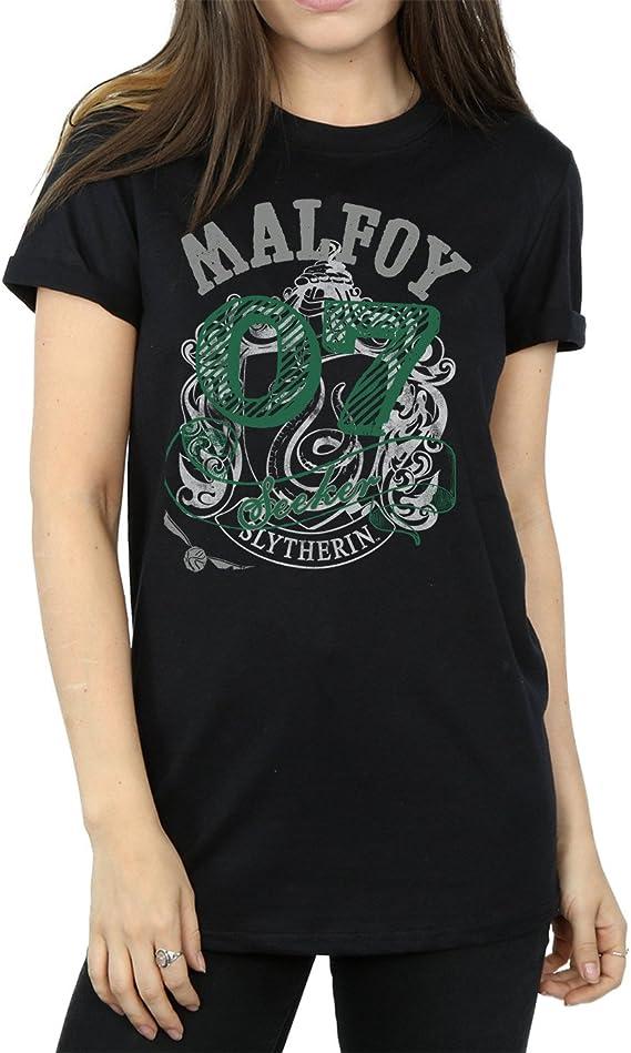HARRY POTTER Mujer Draco Malfoy Seeker Camiseta del Novio Fit Small Negro
