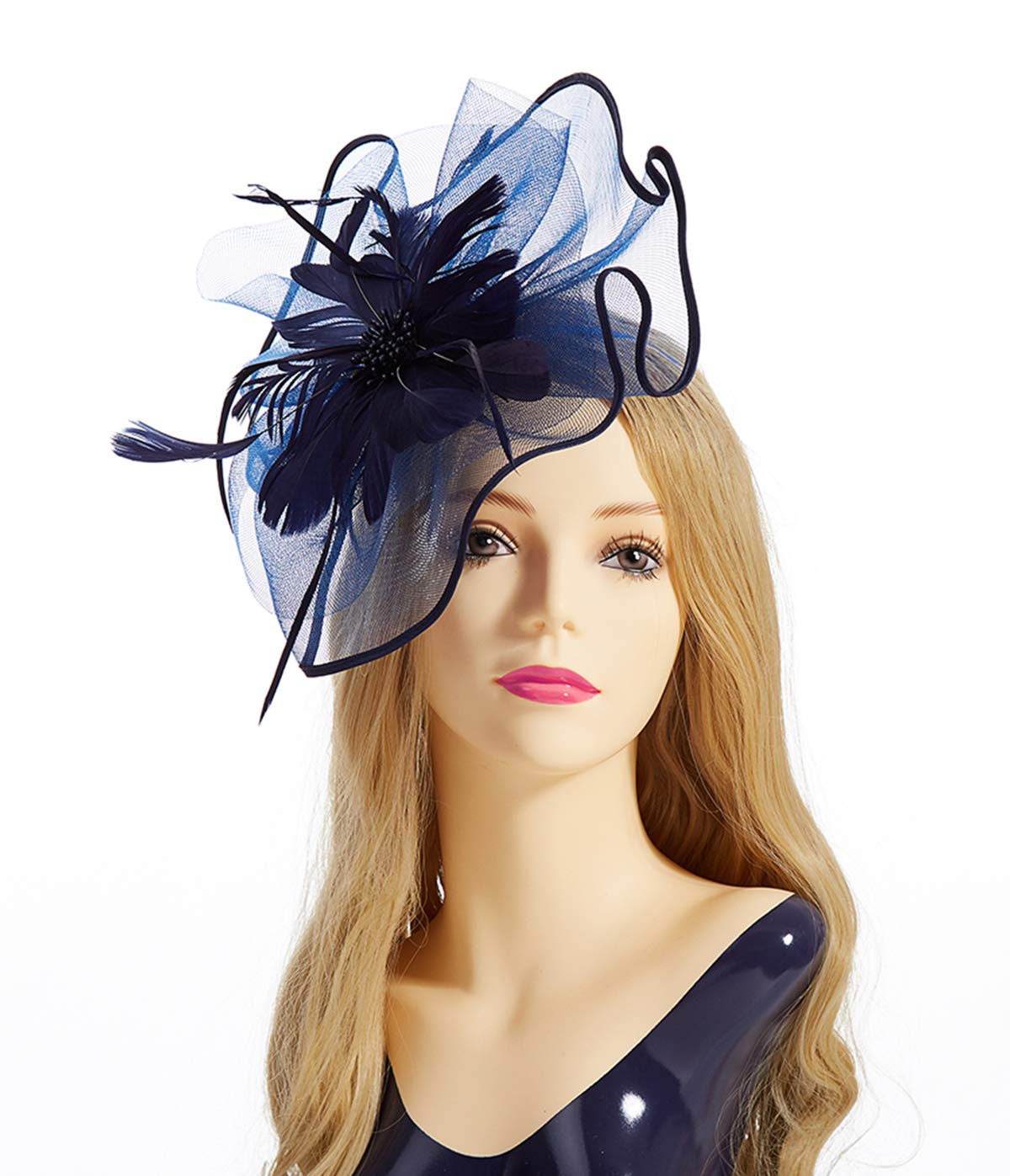 Fascinator Hat,Aiskki Fascinator Headband Feather Mesh Net Hat With Hairband and Gift Gloves,Tea Party Headwear,Flower Derby Hat with Clip,Kentucky Derby Hats for Women (Dark Blue)