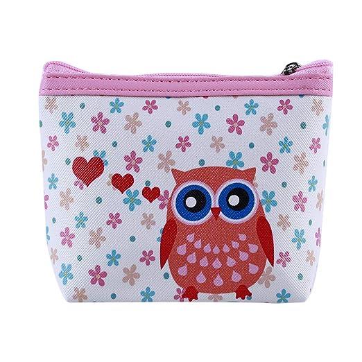 Kingus Cartoon Owl - Monedero de Piel para niñas, diseño de ...