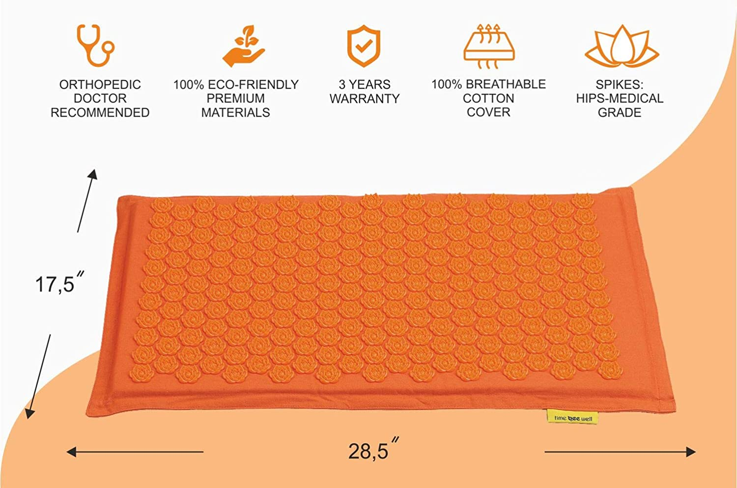 Eco-Friendly Acupressure Mat and Pillow Set - Back and Neck Pain Relief (Orange)