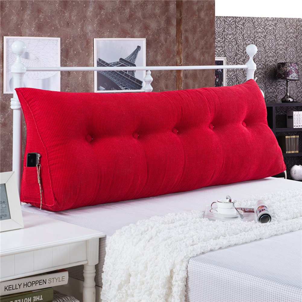 General Vercart Sofa Bed Large Upholstered Headboard Filled Triangular Wedge Cushion Bed Backrest Positioning Support Pillow Reading Pillow Office Lumbar Pad with Removable Cover Red 39x8x20 Inches