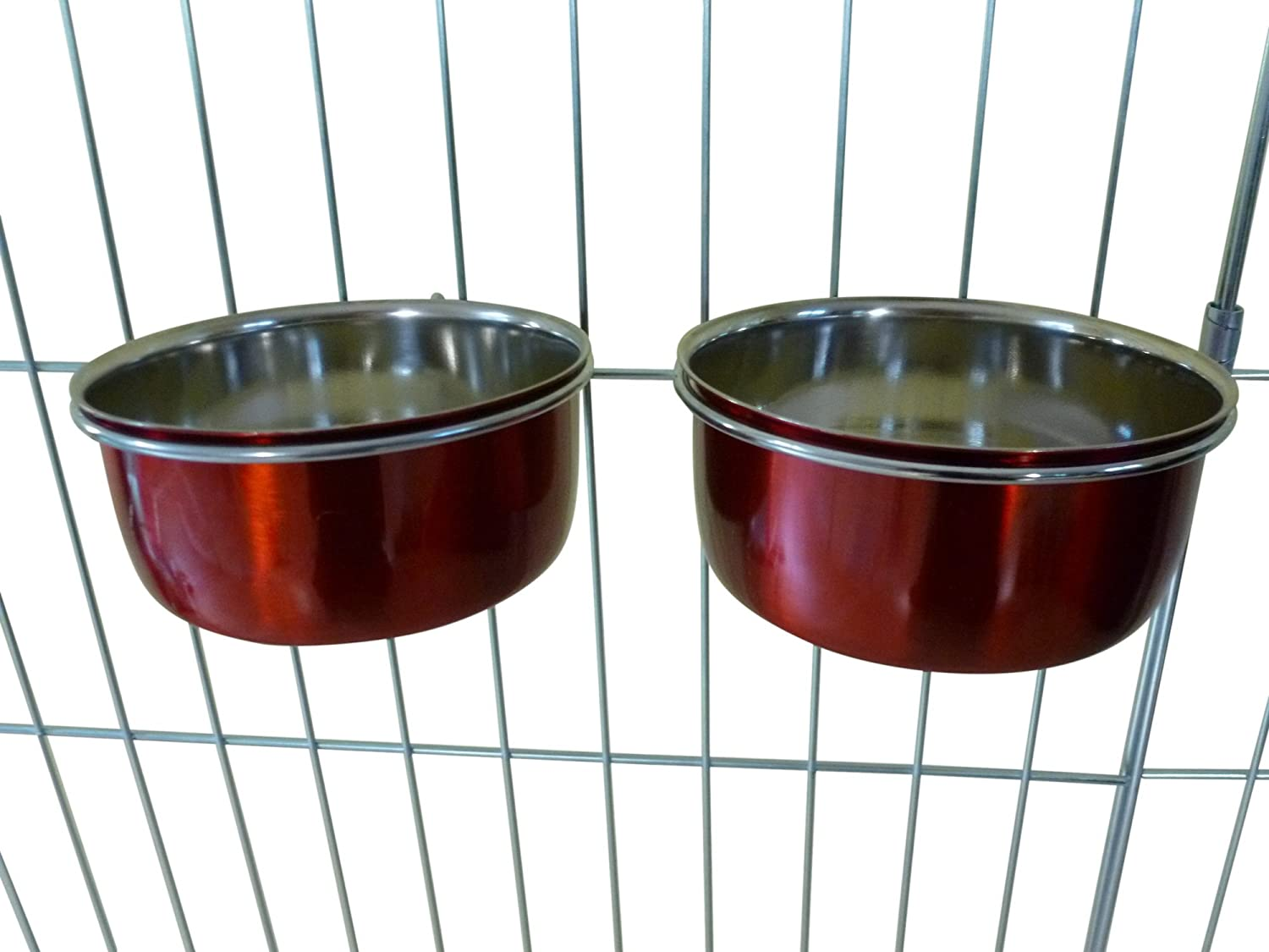 Ellie-Bo Pair of Dog Bowls for Crates Cages or Pens, Small, 0.6 Litre, Red