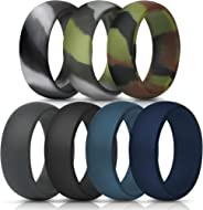 ThunderFit Silicone Rings, 7 Rings / 1 Ring Wedding Bands for Men - 8.7 mm Wide - 2.5mm Thick