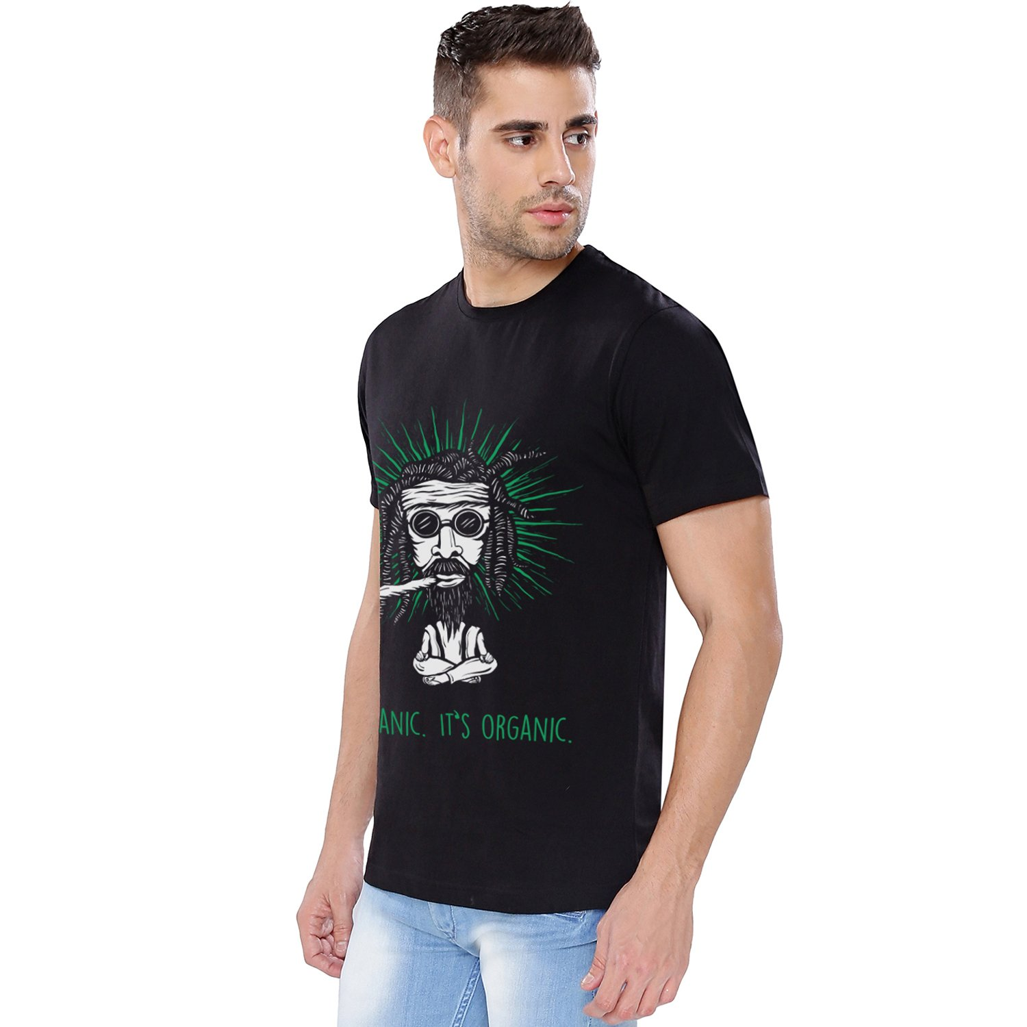34131fa89b The Souled Store It's Organic (Glow in Dark) Alcohol Printed Black Cotton  T-Shirt for Men Women and Girls: Amazon.in: Clothing & Accessories