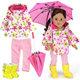4 Pc. Doll Clothing Set: Floral Doll Poncho with Leggings, Umbrella and Rain Boots by Sophia's | Fits BOTH 15 Inch Baby Doll and 18 Inch Dolls