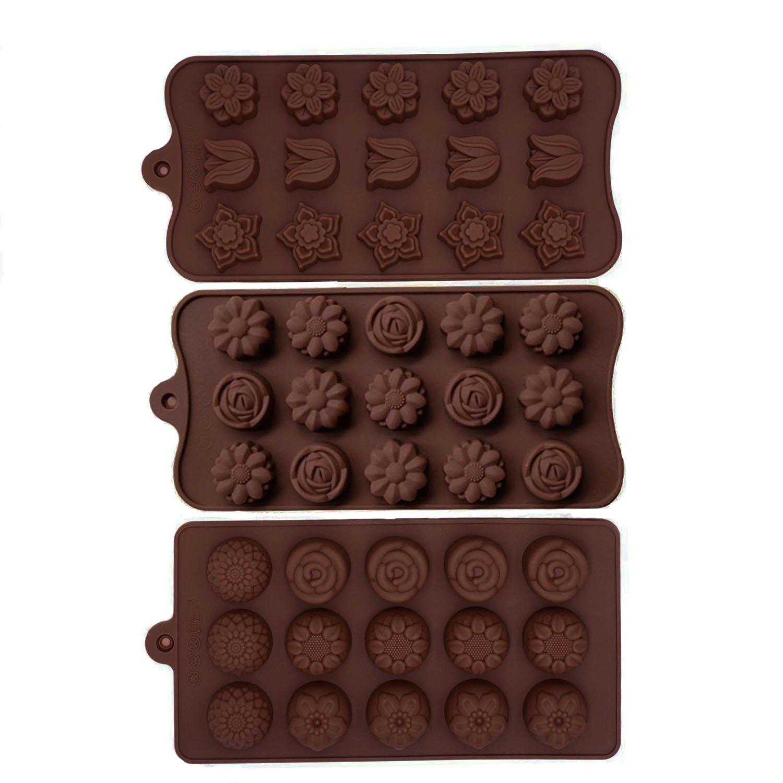 Minchsrin Non Stick 3pc Candy Molds